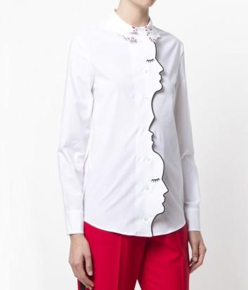 Белая хлопковая рубашка Vivetta с изображением лиц по канту