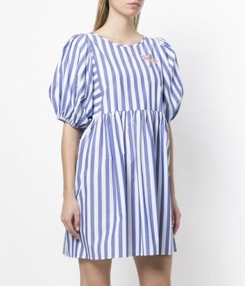 Котоновое платье Vivetta в бело голубую полоску и пышными рукавами