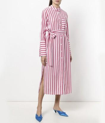 Котоновое платье-рубашка Vivetta в бело-красную полоску на пуговках