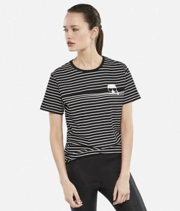 Женская футболка Karl Lagerfeld IKONIK STRIPE в черно-белую полоску