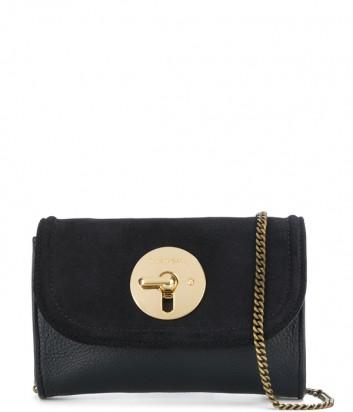 Маленькая кожаная сумочка See by Chloé Lois с замшевой крышкой черная