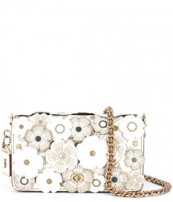Кожаная сумка Coach Dinky с цветочной аппликацией белая