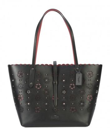 Кожаная сумка-тоут Coach Market с резным цветочным узором черная