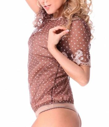 Комбидресс-блуза Suavite 22213 коричневая в горох