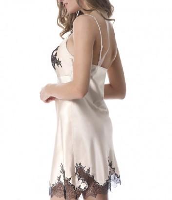 Шёлковый ночная рубашка Suavite Адель пудровая с черной вышивкой