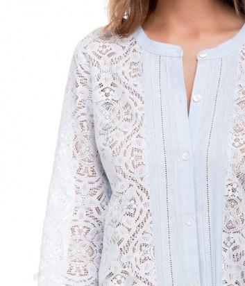 Легкая кружевная рубашка Suavite 132171 нежно-голубая