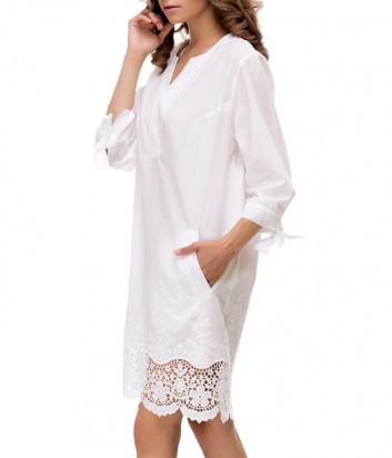 Хлопковое платье Suavite 12933 с карманами белое
