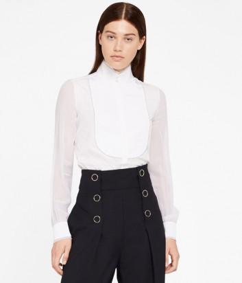 Белая шёлковая рубашка Karl Lagerfeld с высоким воротником