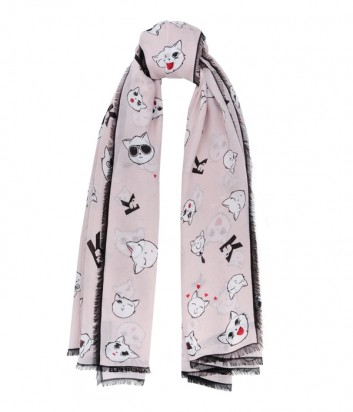 Легкий нежно-розовый платок Karl Lagerfeld с забавным принтом