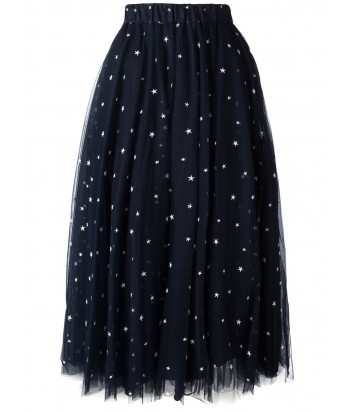 Макси юбка-пачка P.A.R.O.S.H. с принтом звезд темно-синяя
