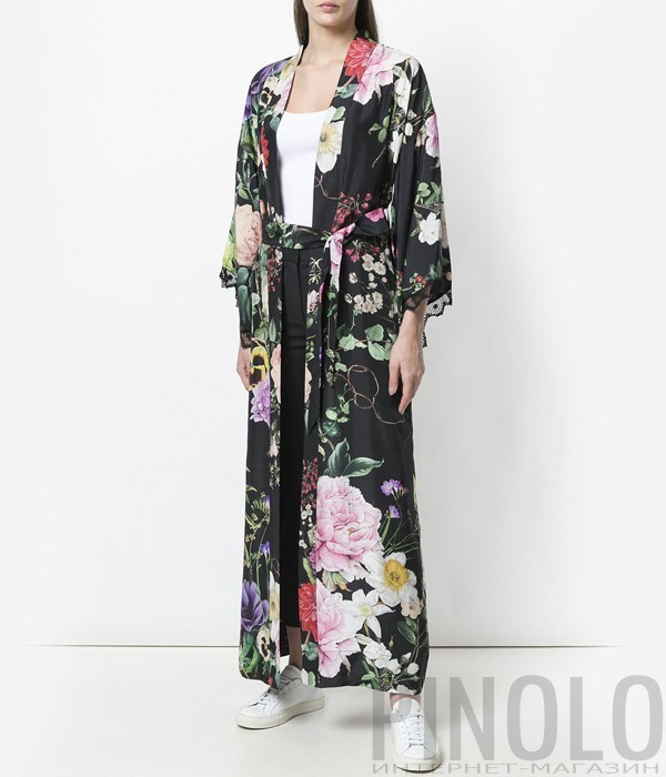 Черное шелковое кимоно P.A.R.O.S.H. с цветочным принтом