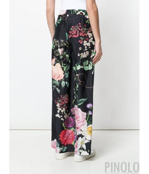 Черные шелковые брюки P.A.R.O.S.H. с цветочным принтом