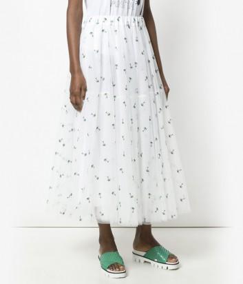 Белая пышная юбка P.A.R.O.S.H. с вышитыми пальмами