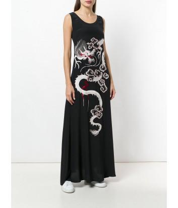 Длинное шелковое платье P.A.R.O.S.H. черное с вышивкой