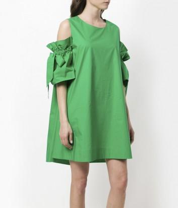 Зеленое платье с открытыми плечами P.A.R.O.S.H. на завязках