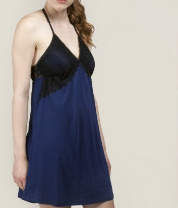 Синий пеньюар Gisela 31508 с кружевными вставками