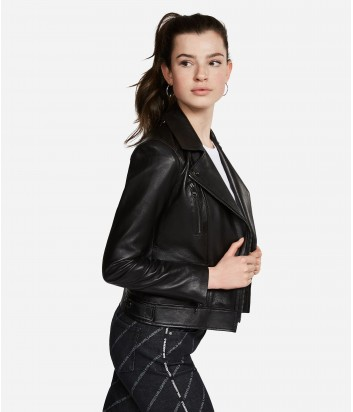 Кожаная куртка косуха Karl Lagerfeld IKONIK ODINA на молнии черная