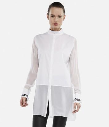 Длинная рубашка Karl Lagerfeld с брендированными манжетам белая