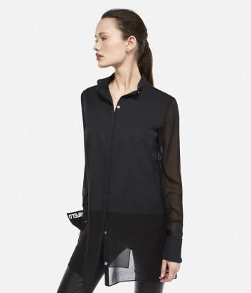 Длинная рубашка Karl Lagerfeld с брендированными манжетам черная