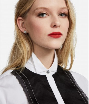 Белая блуза Karl Lagerfeld декорированная шелковой органзой