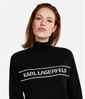Шерстяной гольф Karl Lagerfeld с логотипом черный