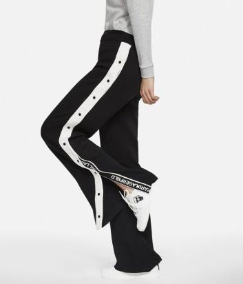 Черные спортивные брюки Karl Lagerfeld с белыми лампасами на пуговицах
