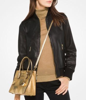 Женская куртка Michael Kors из перфорированной кожи черная