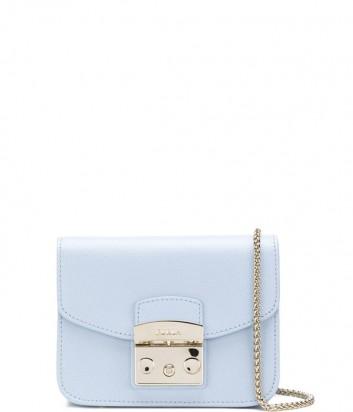 Маленькая кожаная сумка Furla Metropolis 967796 через плечо нежно-голубая