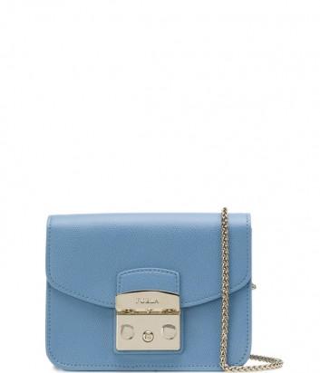 Маленькая кожаная сумка Furla Metropolis 962520 через плечо голубая