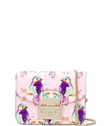 Маленькая кожаная сумка Furla Metropolis 962530 розовая с принтом птиц