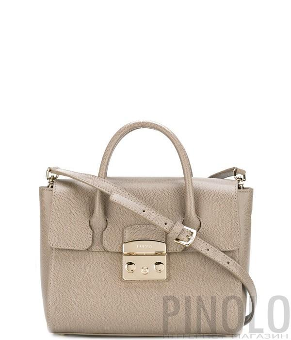 a40ae7e8 Средняя кожаная сумка Furla Metropolis 851152 серая - купить в ...