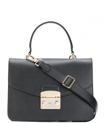 Кожаная сумка Furla Metropolis 948625 с откидным клапаном черная