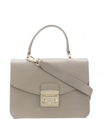 Кожаная сумка Furla Metropolis 948628 с откидным клапаном серая