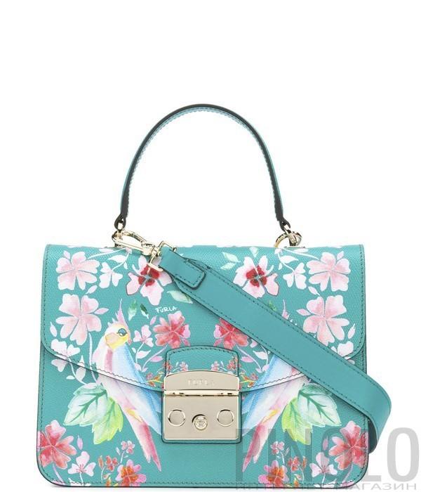 3dc610ef Кожаная сумка Furla Metropolis 962592 бирюзовая с ярким рисунком ...