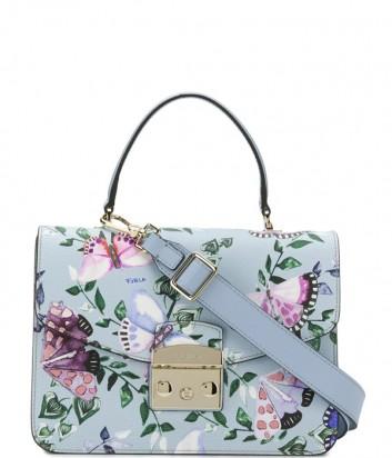 Кожаная сумка Furla Metropolis 967808 голубая с нежным принтом бабочек