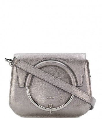 Кожаная сумка Furla Margherita 963672 с откидным клапаном серебристая