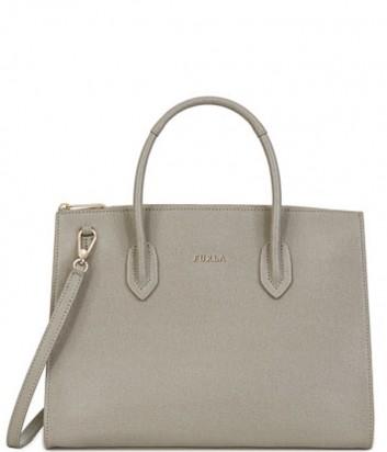 Кожаная сумка Furla Pin 942264 на молнии серая