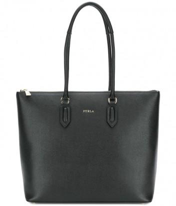 Кожаная сумка-шоппер Furla Pin 942282 с высокими ручками черная