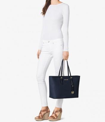 Большая сумка из сафьяновой кожи Michael Kors Jet Set Travel синяя