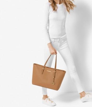 Большая сумка из сафьяновой кожи Michael Kors Jet Set Travel рыжая
