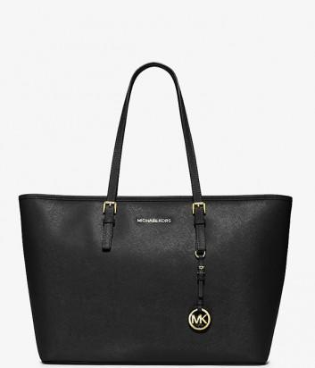Большая сумка из сафьяновой кожи Michael Kors Jet Set Travel черная