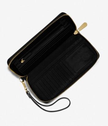 Кожаное портмоне Michael Kors Jet Set Continental черное с золотой фурнитурой