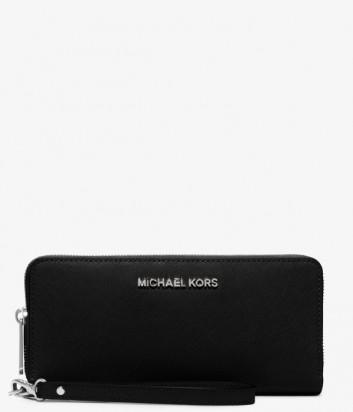 Кожаное портмоне Michael Kors Jet Set Continental черное с серебряной фурнитурой