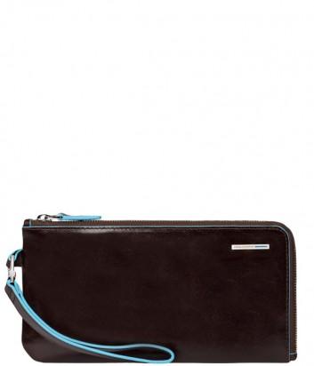 Кожаное мульти-портмоне Piquadro Blue Square AC2648B2 на молнии коричневое