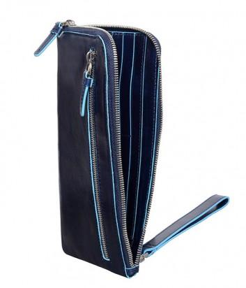 Кожаное мульти-портмоне Piquadro Blue Square AC2648B2 на молнии синее