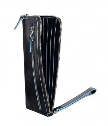 Кожаное мульти-портмоне Piquadro Blue Square AC2648B2 на молнии черное
