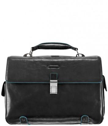 Кожаный портфель Piquadro Blue Square CA1066B2 на два отдела черный