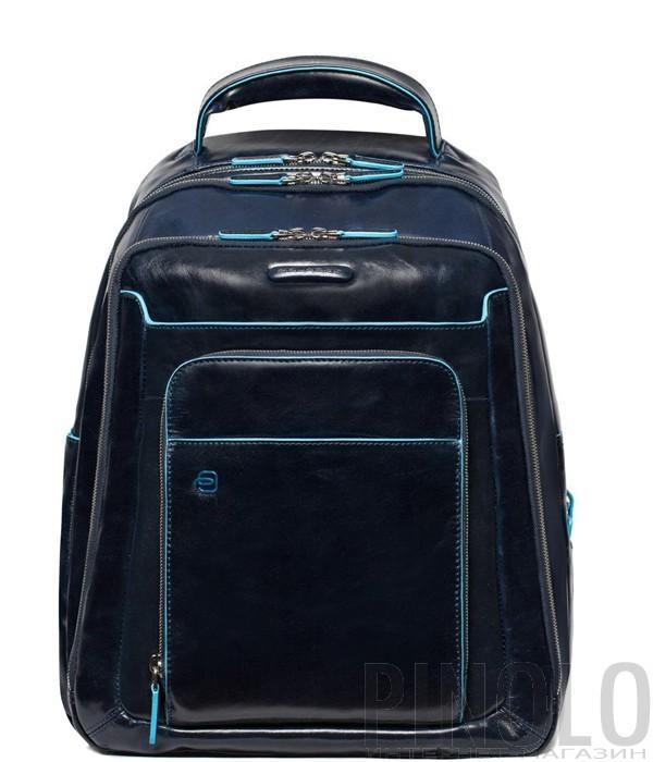 5539ad4b20f9 Кожаный рюкзак Piquadro Blue Square CA1813B2 с отделением для ноутбука синий
