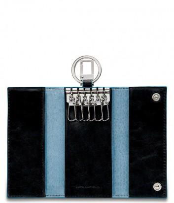 Кожаная ключница Piquadro Blue Square PC1397B2 на 6 ключей черная