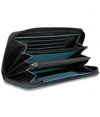 Кожаное портмоне на молнии Piquadro Blue Square PD3229B2 черное